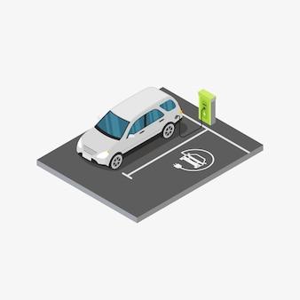 Isometrische elektrische auto laadstation ontwerp concept illustratie