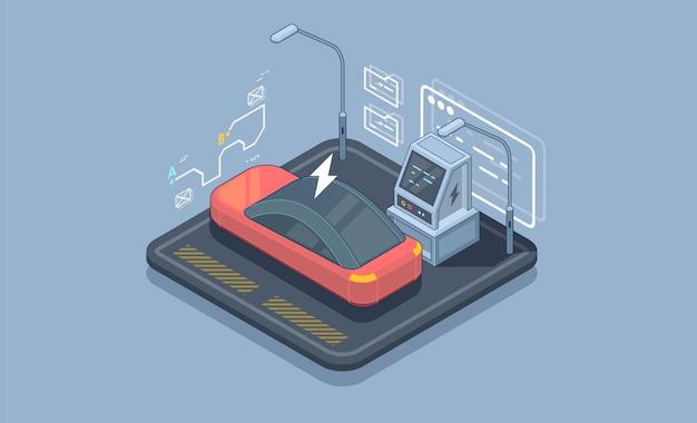 Isometrische elektrische auto parkeren. laadstation vector websjabloon voor spandoek.
