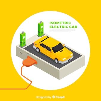 Isometrische elektrische autoachtergrond