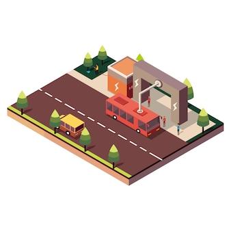 Isometrische elektrische bus stop wordt opgeladen door stroomafnemer