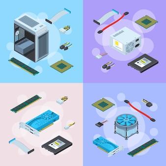Isometrische elektronische apparaten concept