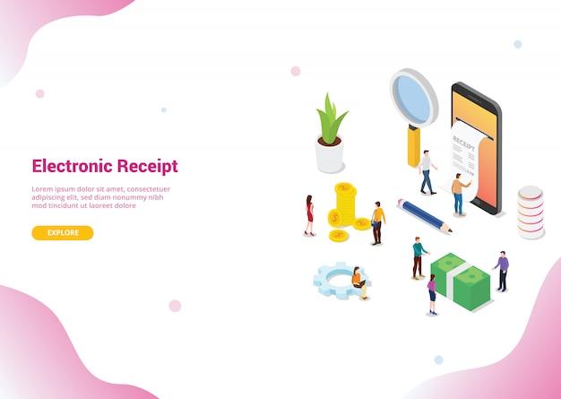 Isometrische elektronische ontvangst concept voor website sjabloon landing homepage