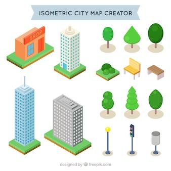 Isometrische elementen om een stad te creëren