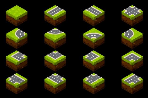 Isometrische elementen van een grondweg met gras voor de straat