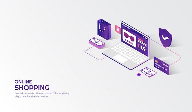 Isometrische elementen voor online winkelen concept