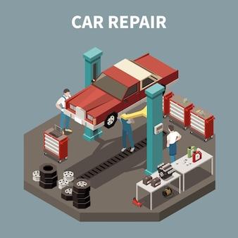 Isometrische en geïsoleerde auto service concept met auto reparatie beschrijving werkomgeving illustratie