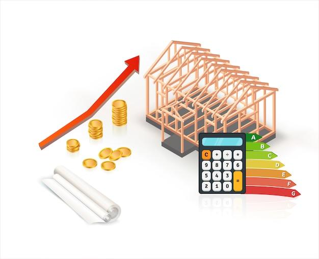 Isometrische energie-efficiënte houten huisconstructie met rekenmachine en munten