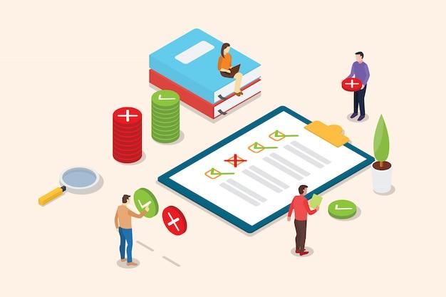 Isometrische enquête mensen op het klembord met checklist