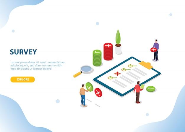 Isometrische enquête mensen voor website landing homepage