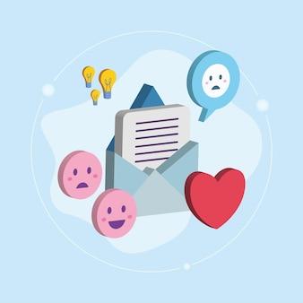 Isometrische envelop emoji's en hart