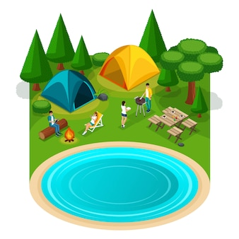 Isometrische expeditie reizen wandelen, webpagina met weekend vrienden picknick camping vakantie, illustratie