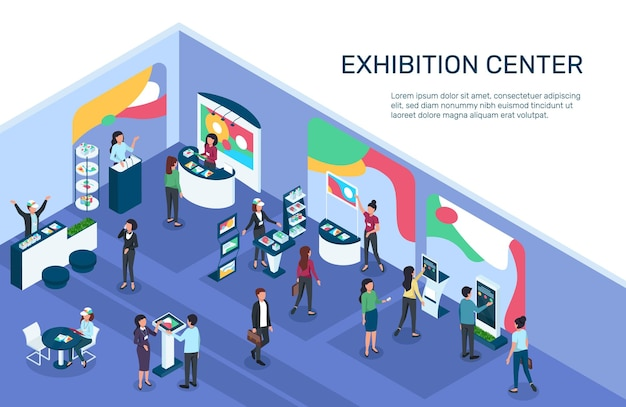 Isometrische expo tentoonstelling met mensen exposeren displays stands stands marketing producten promotie