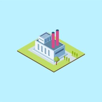 Isometrische fabrieksgebouw