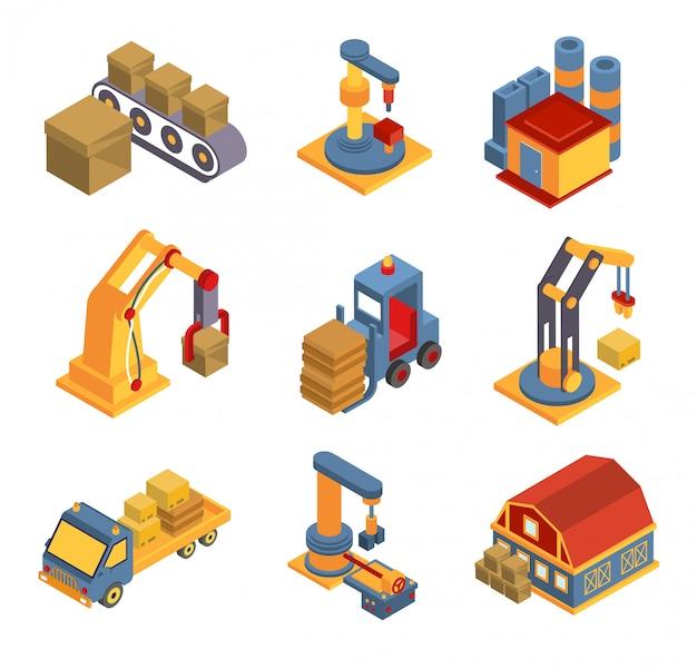 Isometrische fabrieksstroomschema met symbolen voor robotmachines