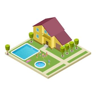 Isometrische familie land hotel vector locatie
