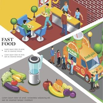 Isometrische fastfood sjabloon met vers sap straatvrachtwagen fastfood restaurant groenten en fruit