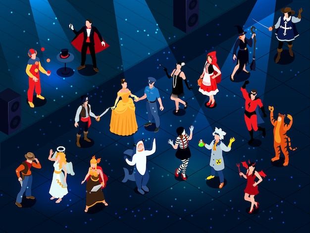 Isometrische feestelijke maskerade carnaval samenstelling met menselijke karakters die funky kostuums dragen