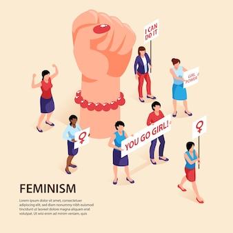 Isometrische feminismeachtergrond met bewerkbare tekst en handvuist met karakters van protesterende vrouwen met plakkaten vectorillustratie