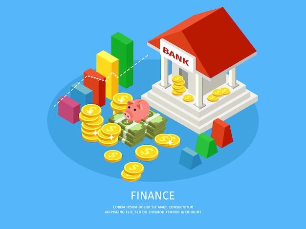 Isometrische financiële elementen concept