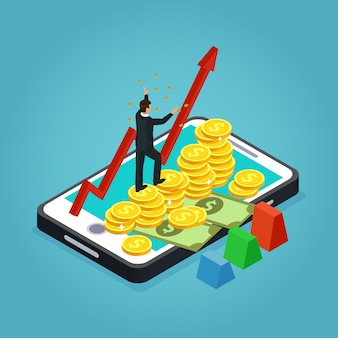 Isometrische financiële ontwikkelingsconcept