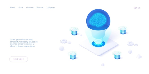 Isometrische flat brainstorm ideeën illustratie brain in light bulb lamp genereren denk creatief innovatie idee
