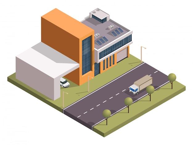 Isometrische flatgebouw en auto parkeren langs transport straat.