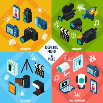 Isometrische foto-videoreeks