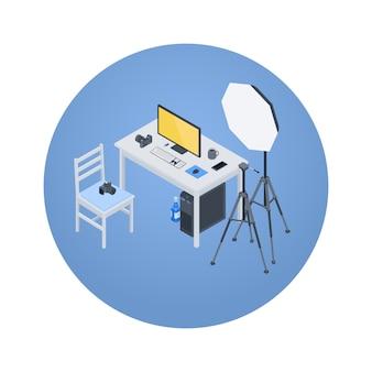 Isometrische fotograaf werkplek