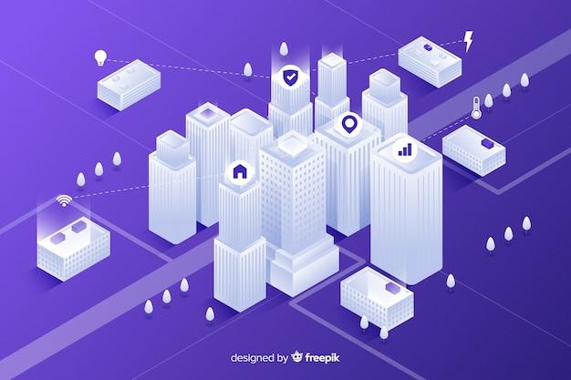 Isometrische futuristische stadsachtergrond