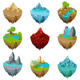 Isometrische game-eilanden.