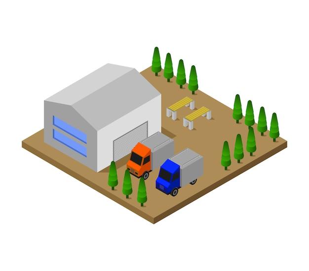 Isometrische garage Gratis Vector