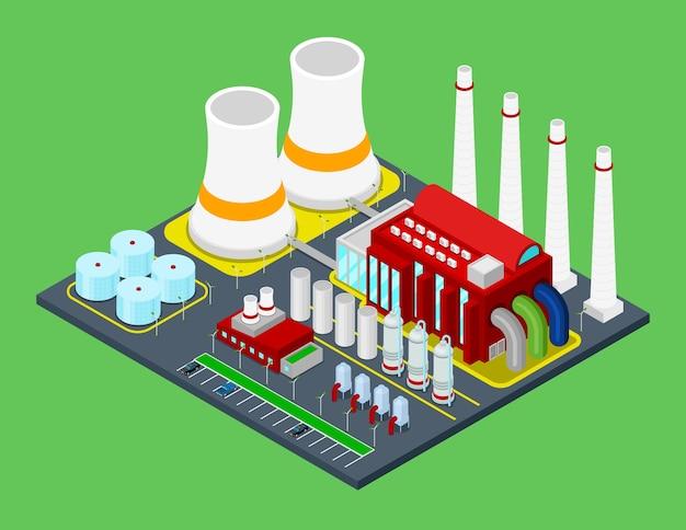 Isometrische gebouw industriële fabrieksinstallatie met buizen. stad
