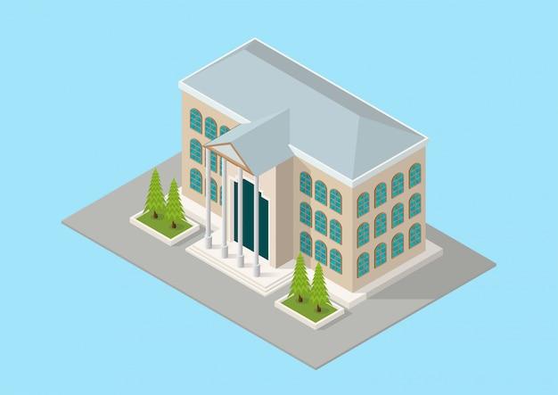 Isometrische gebouw rechtbank of school