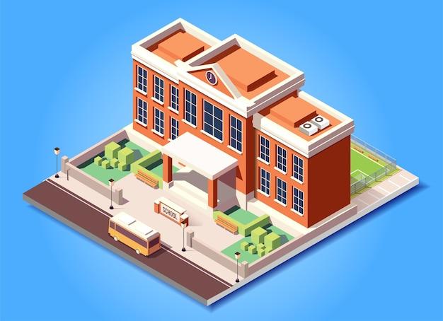 Isometrische gebouw school illustratie