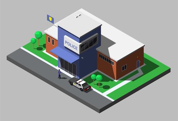 Isometrische gebouw van politie-afdeling met politieagent en politie-auto.