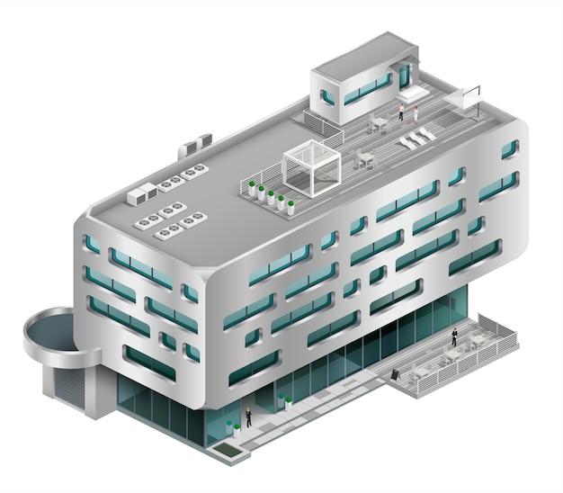 Isometrische gebouw winkelcentrum