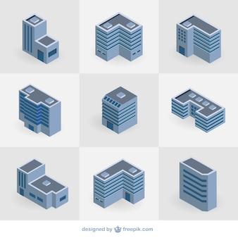 Isometrische gebouwen collectie