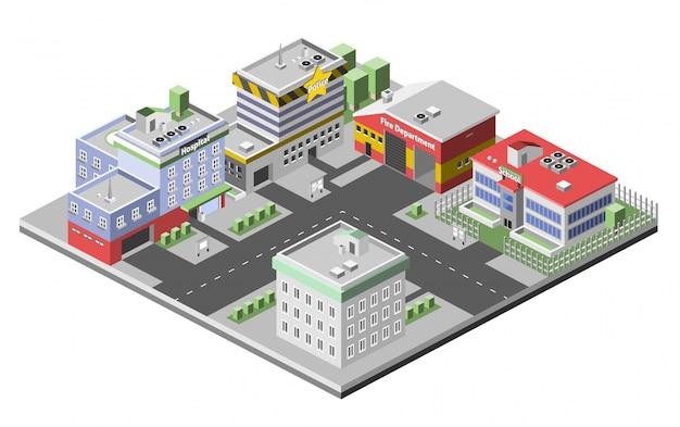Isometrische gebouwen concept
