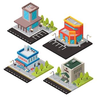 Isometrische gebouwen geïsoleerd