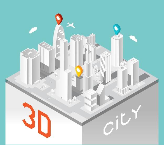 Isometrische gebouwen landschap. stad en elegante stedelijke architectuur, bedrijfshuizen.