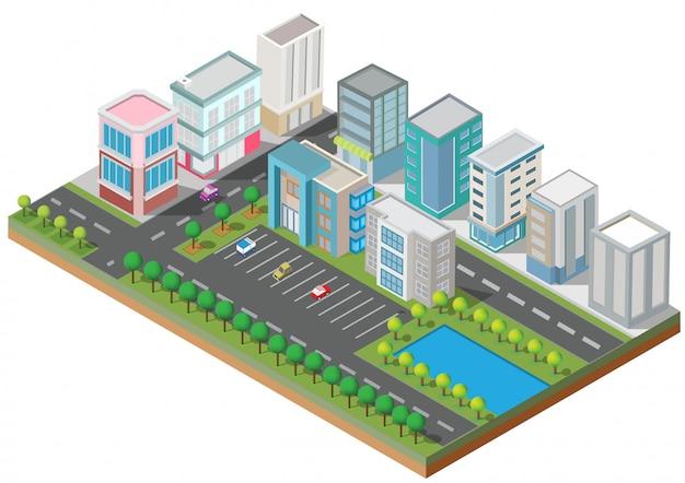 Isometrische gebouwen met tuin, rivier, weg en bomen