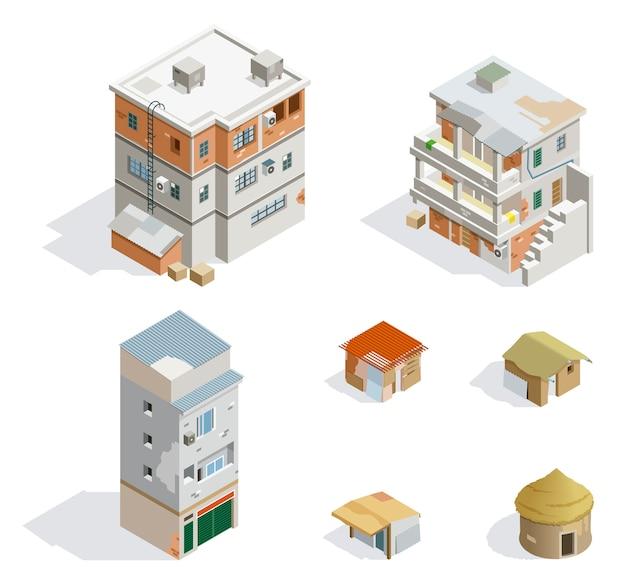 Isometrische gebouwen van de derde wereld
