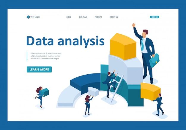 Isometrische gegevens voor analyse, het maken van grafieken, zakenlieden dragen informatie landingspagina