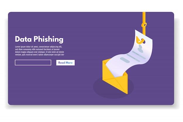 Isometrische gegevensphishing, online oplichting hacken. vissen per e-mail, envelop en vishaak. cyber dief. vector illustratie.