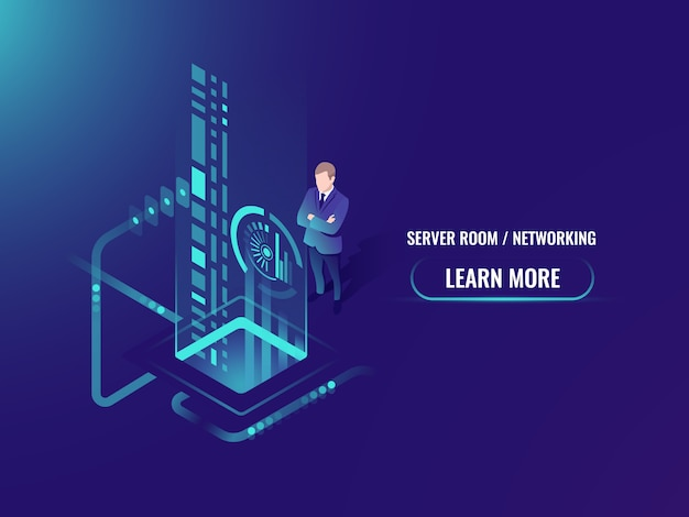 Isometrische gegevensstroomverwerking, veilige informatie over het concept van de cloudserver
