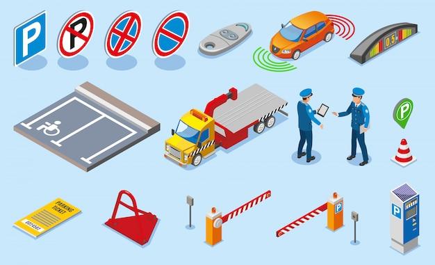Isometrische gekleurde parkeren icon set