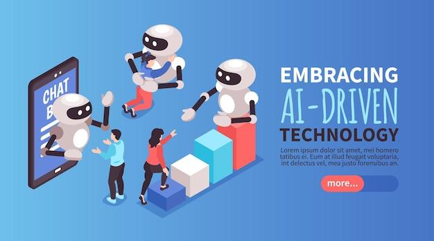 Isometrische gekleurde wereldwijde consumententrends horizontale banner met ai-gestuurde technologiekop
