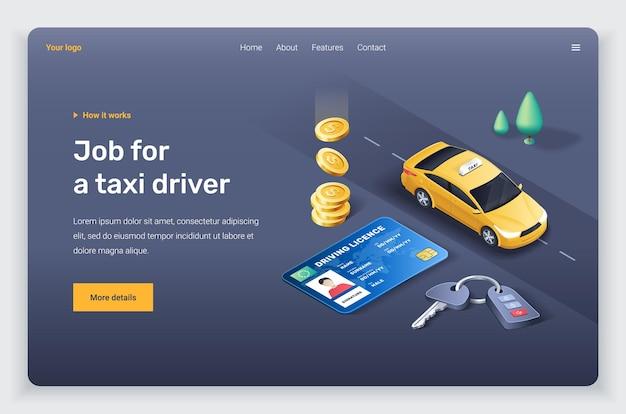 Isometrische gele taxi auto rijbewijs en sleutel. landingspagina sjabloon