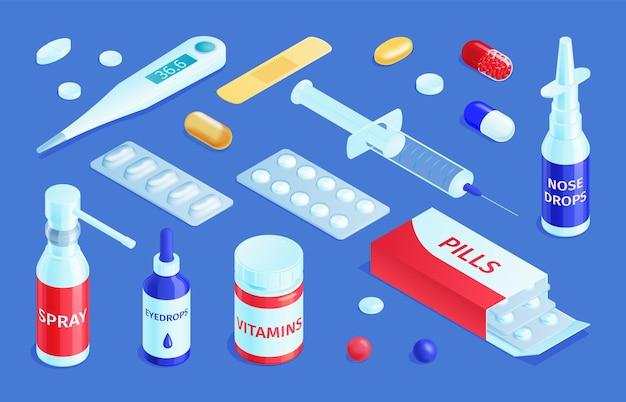 Isometrische geneeskunde apotheek set met geïsoleerde medische producten farmaceutische drugs en pillen met druppels