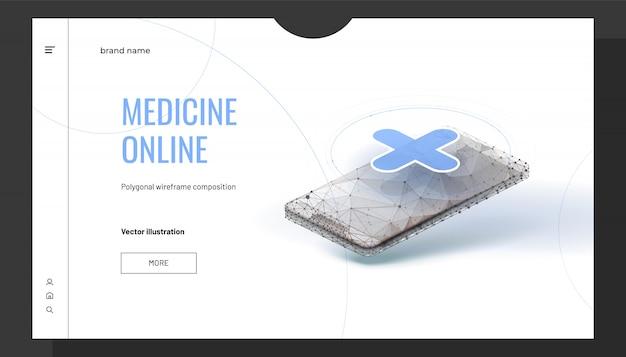 Isometrische geneeskunde online achtergrond met veelhoekige draadframe-stijl